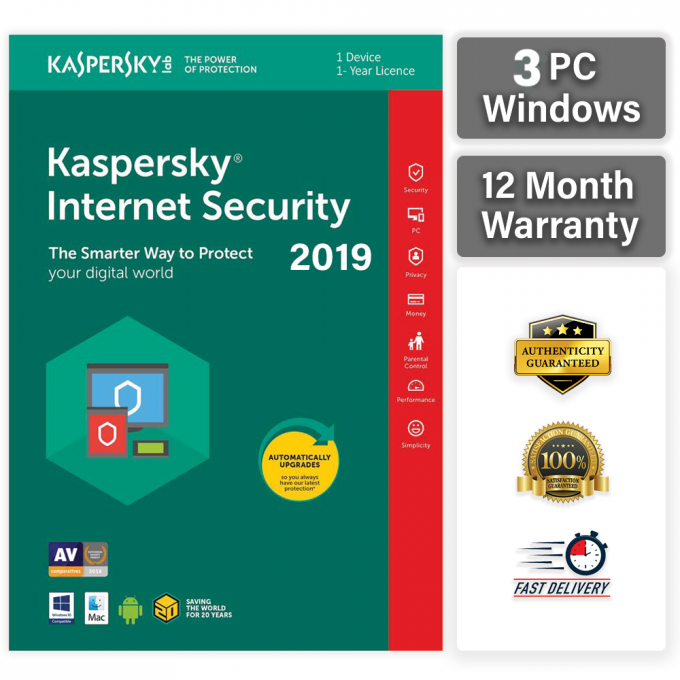 KASPERSKY INTERNET SECURITY 2020 3 PC 1 YEAR